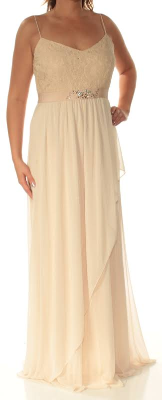 Adrianna Papell Full-Length Embellished Evening Dress Tan 6