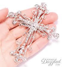 20pcs cross brooch embellishments bouquet wedding crafts baptism