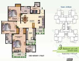 todays ridge residency floor plan 3bhk 3t servant room 1720 sqft