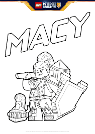 macy with shield colouring page activities nexo knights lego com