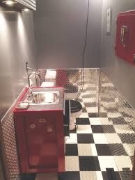 now this is a bathroom diamond plate wainscot and a converted