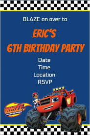 blaze monster machines party invitation personalized party