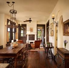 beige walls with brown trim dining room mediterranean with table