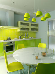 green and yellow fresh kitchen design