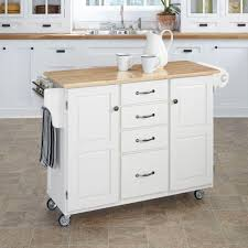 crosley white kitchen cart with natural wood top kf30001ewh the