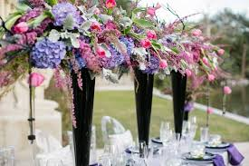 Black Centerpiece Vases by Romantic High Wedding Reception Centerpieces In Black Vases