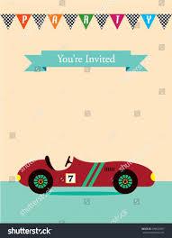 Sport Invitation Card Party Invitation Card Vintage Racing Car Stock Vector 499622497