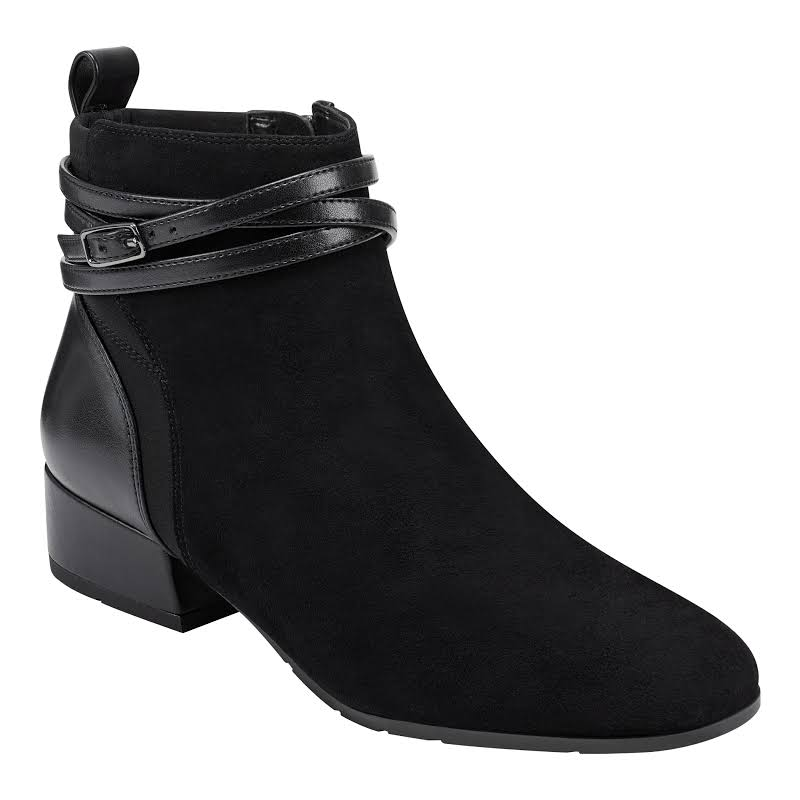 Easy Spirit DAE Suede Arch Support Ankle Boots Black 8 Medium (B,M)