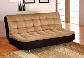 Chaise Lounge With Sofa Bed by Mancora Tan U0026 Black Pillow Top Sofa Bed Futon W Chrome Legs