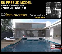 sketchup texture free sketchup 3d model house with pool 42 vray