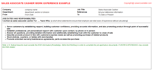 Retail Sales Associate CV Work Experience Career Cover Letter