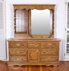 Vanity Dresser Oak Veneered Vanity Dresser With A Mirror And Shelving Unit Ebth
