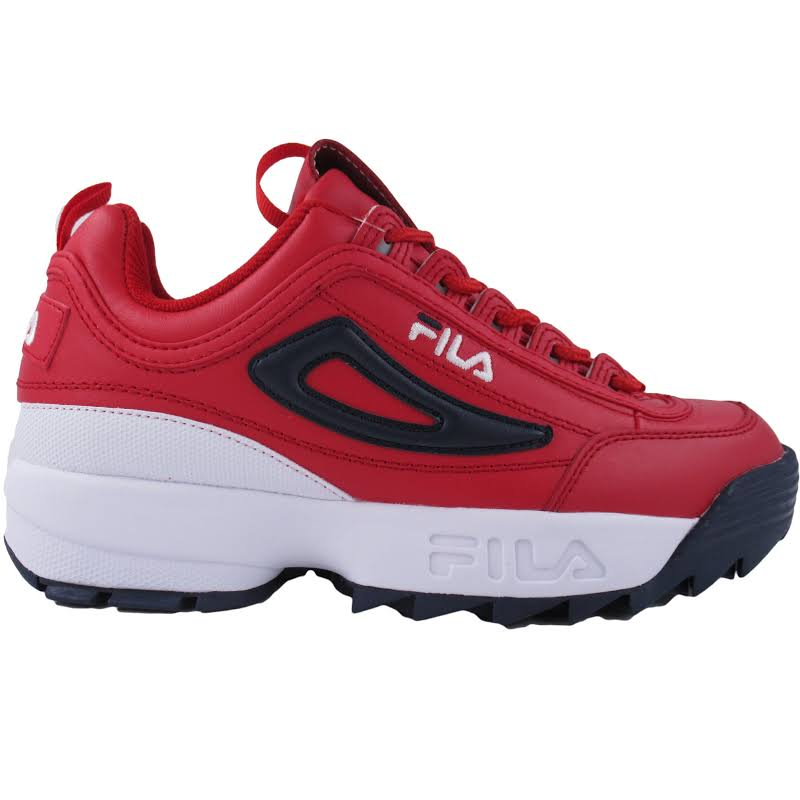Fila Disruptor Ii Premium Red / White Navy Ankle-High Patent Leather Sneaker 9M