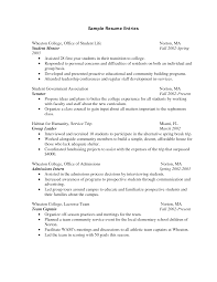 Student Resumes For First Job by Resume Sample For Freshman College Student Templates