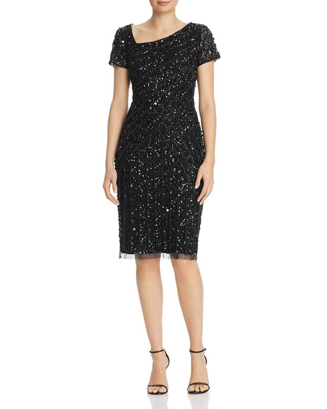 Adrianna Papell Beaded Asymmetrical Neckline Cocktail Dress Black 8