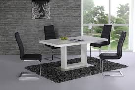 High Gloss Dining Table And  Chairs White With Black Homegenies - Black dining table for 4