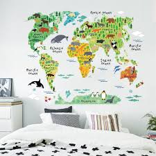 Kids World Map Zoom Art Diy Vinyl Wall Sticker Decal World Map Kids Room Office