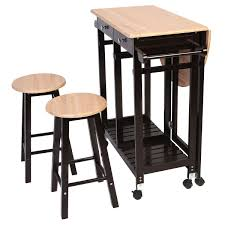 3 pcs rolling kitchen island cart with 2 stools kitchen u0026 dining