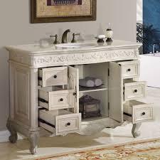 Ella Bathroom Vanity Single Sink Cabinet White Oak Finish - 48 bathroom vanity antique white