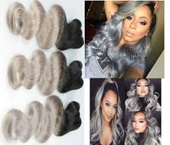 Grey Human Hair Extensions by Amazon Com Silver Grey Ombre Human Hair Extensions Brazilian