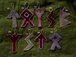 big runic burgundy and grey boiled wool ornaments pagan
