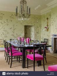 Crystal Chandeliers For Dining Room De Gournay Chinoiserie Wallpaper In Dining Room With French