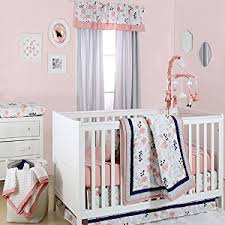 amazon com floral fitted crib sheet coral pink and navy blue