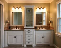 master bath idea white walls cream colored counters and his and