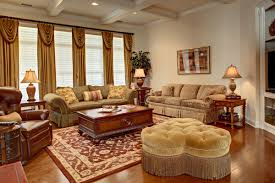 Living Room Curtain Looks Classic And Elegant French Style Living Room With Brown Dominated