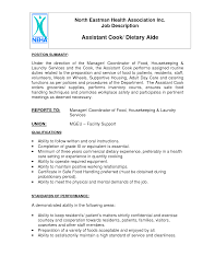 Cook Resume Sample Pdf Nutrition Services Resume