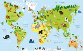 World Map Asia by Funny Cartoon World Map With Traditional Animals Of All The
