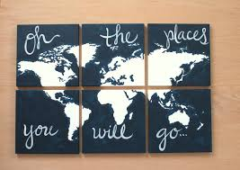 World Map Canvas by World Map Canvas Oh The Places You Will Go 6 12x12 U0027s