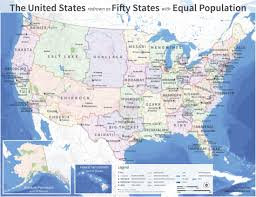 Color Coded Map Of Usa by Redrawn Us Map With States Of Equal Population Maps Pinterest