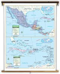 Latitude Map Primary Central America Mexico And Caribbean Political Classroom