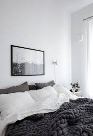top 25 best white grey bedrooms ideas on pinterest beautiful scandinavian grey bedroom with raindrops print and chunky wool blanket