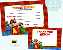 Birthday Invitation Cards For Kids Luvibee Kids Company Free Printable Alvin U0026 The Chipmunks