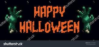 halloween pixel backgrounds happy halloween pixel banner zombie hand stock vector 501073804