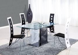 dining room modern dining sets in black and white theme with side