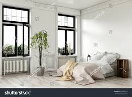 Bedroom Interiors Airy Bright White Bedroom Interior Large Stock Illustration