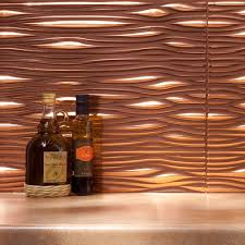 fasade waves polished copper 18 square foot backsplash kit by