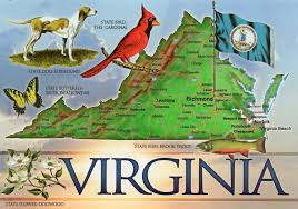 Virginia map and symbols