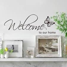 compare prices on living room wall decals online shopping buy low free shipping butterfly wall sticker welcome to our home quote wall decals vinyl wall decal living