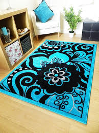 Funky Rugs New Hand Carved Teal Blue Black Silver Border Funky Flower Floral