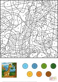 giraffe color by number free printable coloring pages