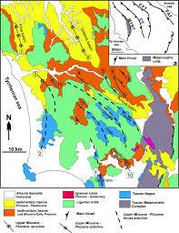 Tuscany Map Pliocene Crustal Shortening On The Tyrrhenian Side Of The Northern