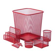 Desk Organization Accessories by Honey Can Do 6 Piece Steel Mesh Desk Set In Red Ofc 04880 The