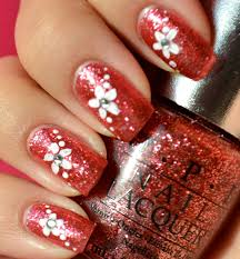 glitter nails with simple flower easy nail art tutorial youtube