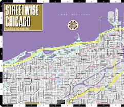 Public Transit Chicago Map by Streetwise Chicago Map Laminated City Center Street Map Of