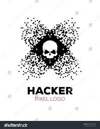 halloween pixel backgrounds skull on pixels background hacker logo stock vector 586489985