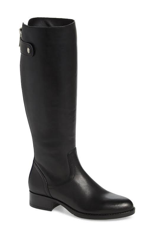 Steve Madden journal Leather Almond Toe Knee, Black Leather,